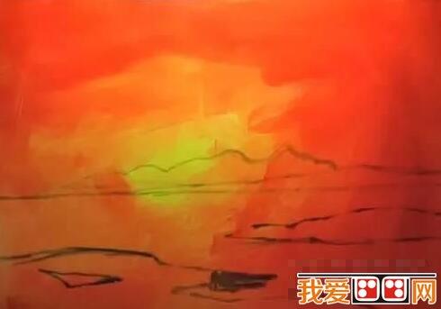 油画火烧云风景绘画步骤一