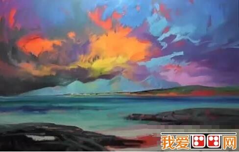 油画火烧云风景绘画步骤二