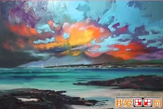 油画火烧云风景绘画步骤三 四、深入刻画。 用相对小的笔触刻画礁石、海面和云彩的细节。并同时不要忘记从整体把握画面的主次关系。 油画火烧云风景绘画步骤四 五、进一步深入云彩的刻画。 丰富云彩的色彩层次和细节刻画。 油画火烧云风景绘画