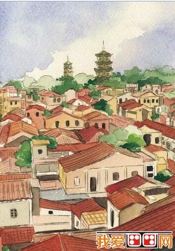 閩南老房子建筑手繪圖片