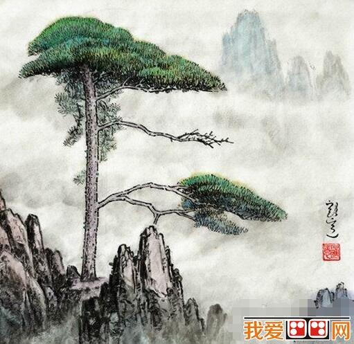 中国画迎客松作画步骤教程解析(6)