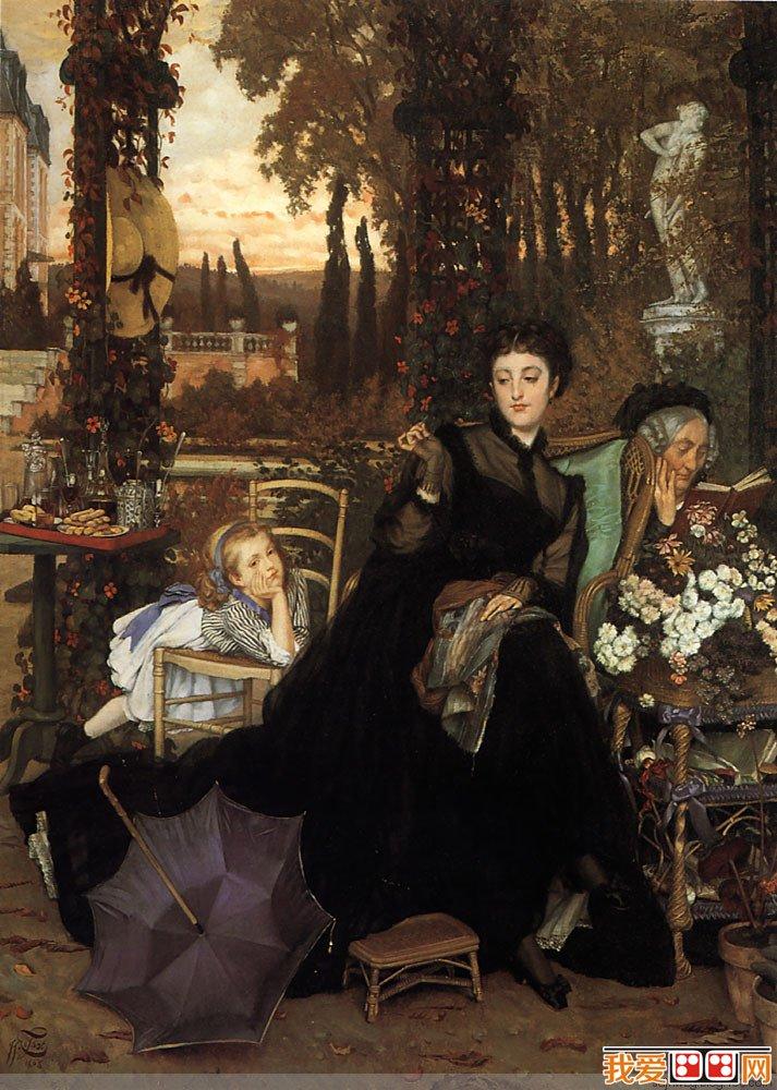 法国新古典主义画家雅姆·蒂索女性人物油画作品赏析