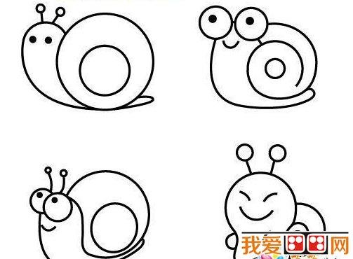 幼儿学习线描画蜗牛