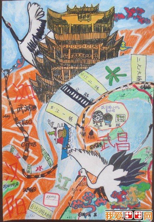 """""""美丽中国""""儿童手绘活动作品《武汉三镇黄鹤楼》(武汉市同济附小"""