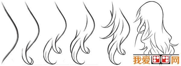 动漫少女头发画法手绘