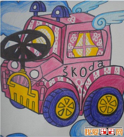儿童画汽车图片