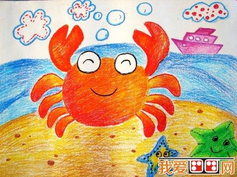 手工纸撕腿来表现,他们常常随手拈来,即兴发挥,绘画了形态各异的螃蟹.
