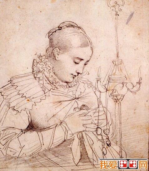 素描名家安格尔人物素描作品欣赏 3