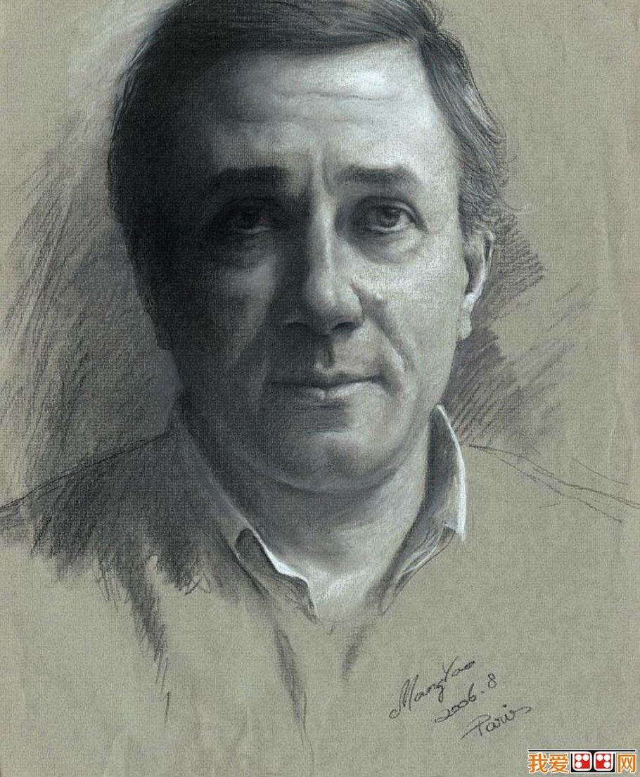 素描男性人物头像作品
