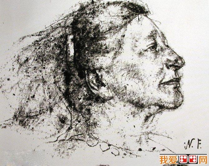 尼古拉侧面人物头像素描