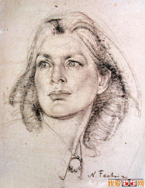 尼古拉·费申人物头像素描作品欣赏(6)