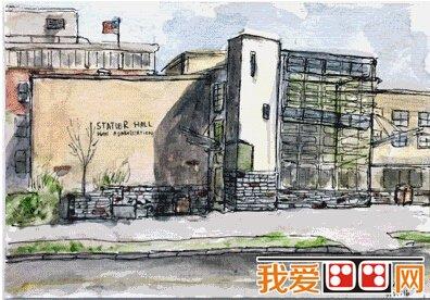 中国女生康奈尔大学建筑手绘作品欣赏(2)