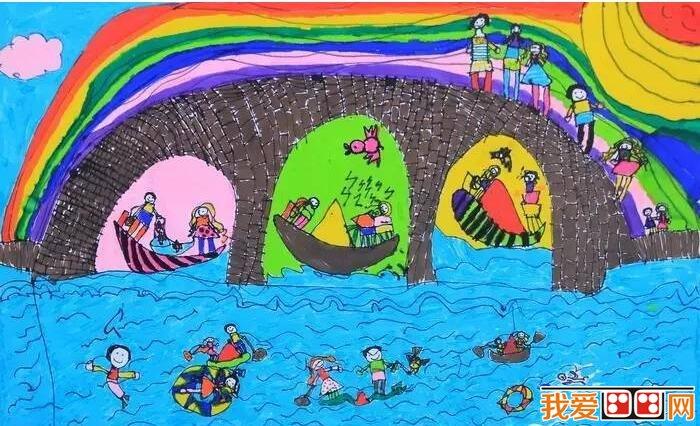 京杭大运河儿童画作品欣赏图片