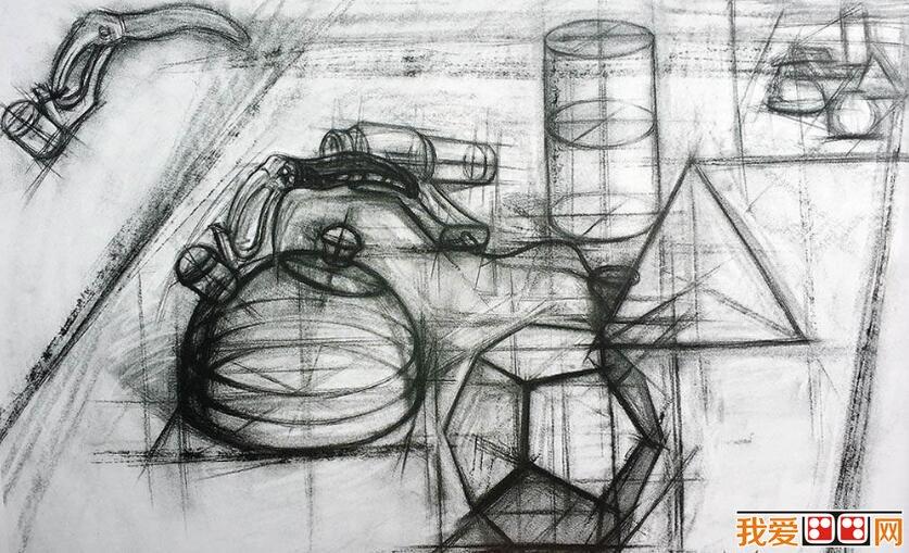 中国美院学生优秀结构静物素描作品欣赏(2)