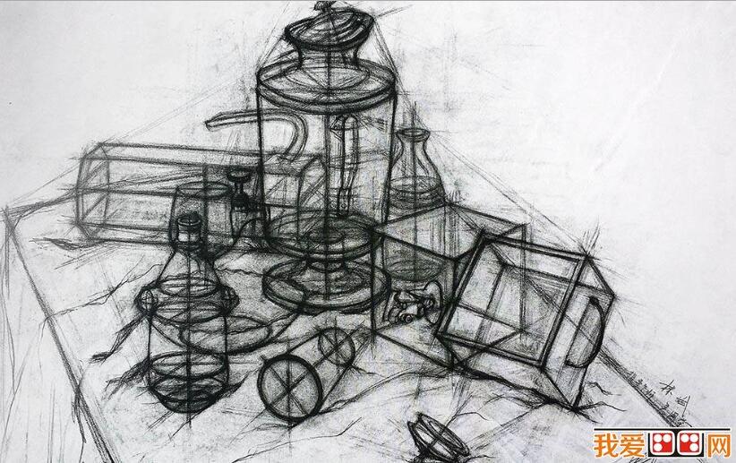 中国美院学生优秀结构静物素描作品欣赏(5)