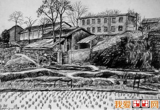 美丽的山村风景素描作品欣赏(4)
