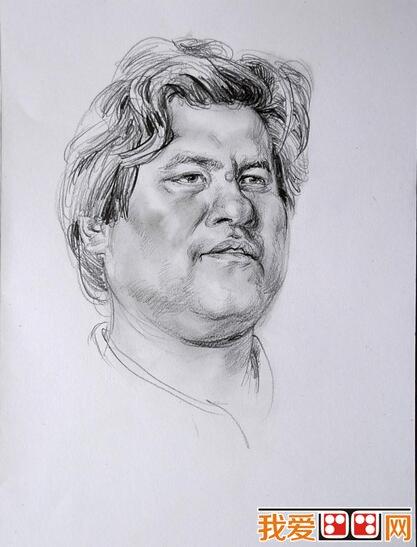 中年男子人物头像素描