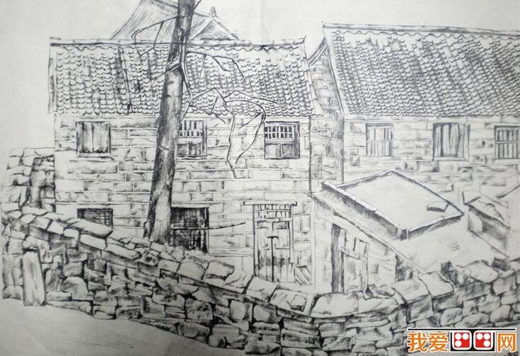 乡村房屋风景速写作品赏析(4)