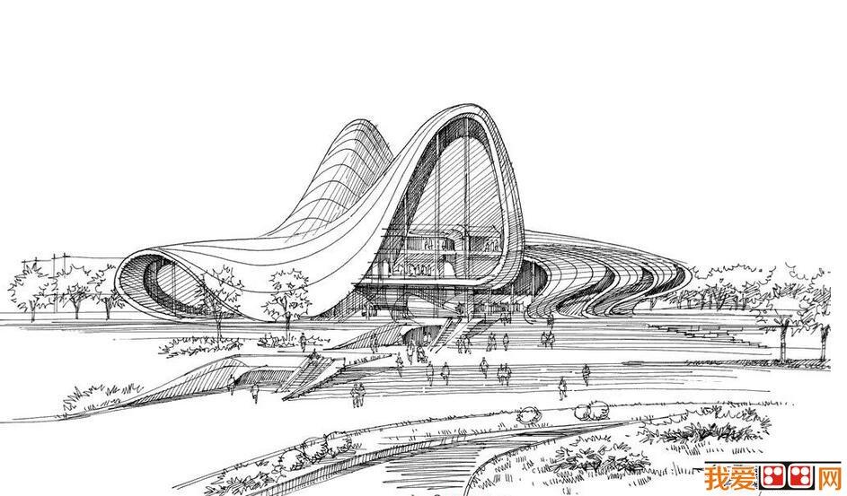 钢笔速写建筑风景作品赏析
