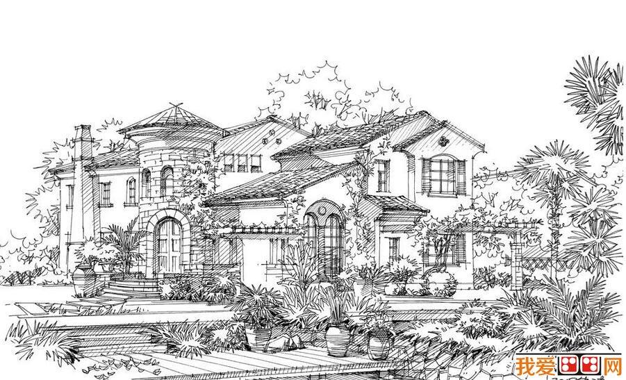 钢笔速写建筑风景作品赏析 4图片