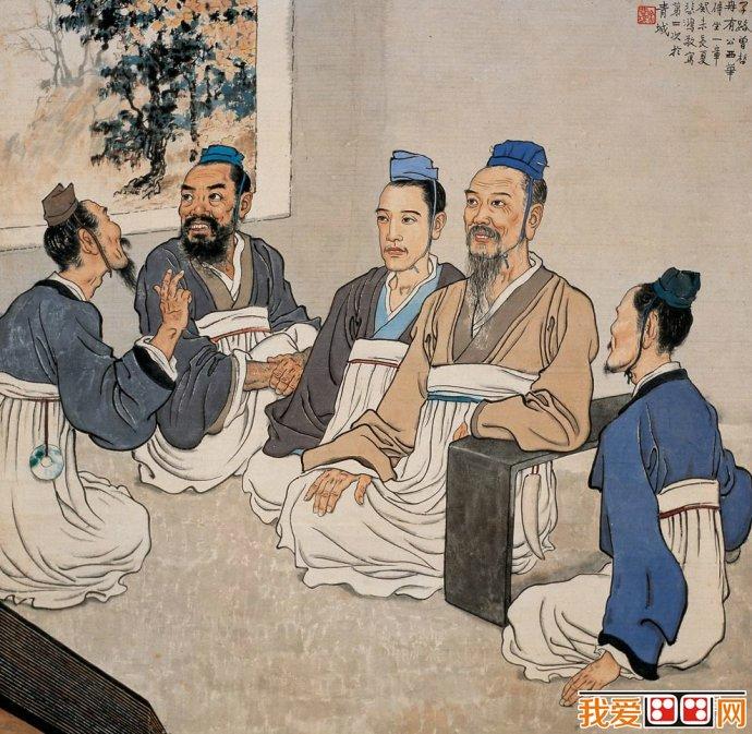 徐悲鸿水墨人物画:孔子讲学