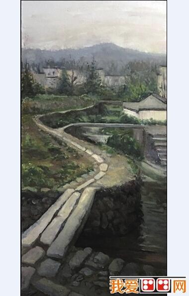 宁夏大学查济风景油画写生作品欣赏 2图片