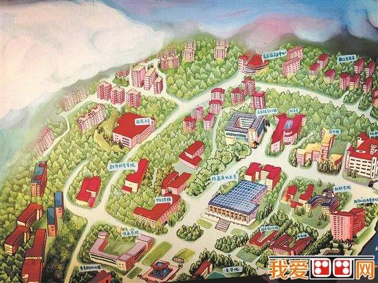 华大的手绘地图将整个华园囊括其中,学校建筑,植被分布,道路等