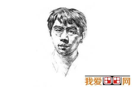 素描戴眼镜的男人的绘画步骤(3)