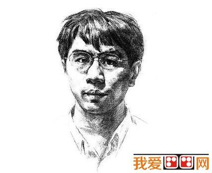素描戴眼镜的男人的绘画步骤(4)