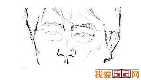 素描戴眼镜的男人的绘画步骤(5)
