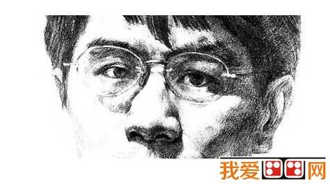 素描戴眼镜的男人的绘画步骤 6