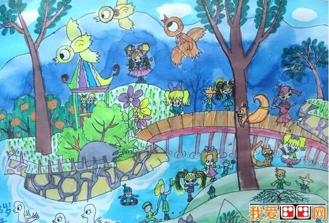 学画画 儿童画教程 儿童水彩画 > 想象力丰富的儿童水彩画公园图片(3)