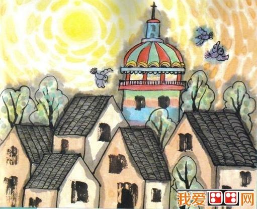 房屋儿童画优秀作品欣赏 3图片
