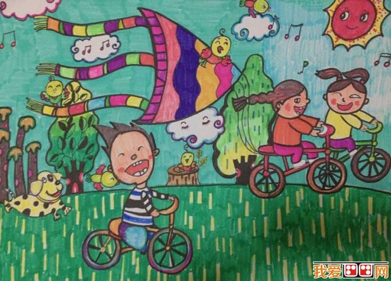 春游优秀儿童水彩画作品欣赏