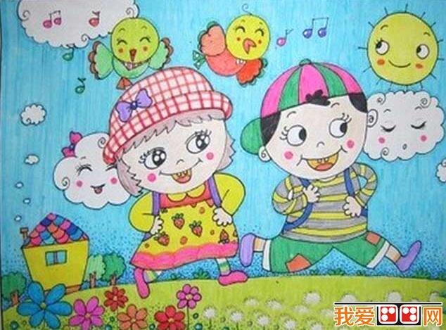 春游优秀儿童水彩画作品欣赏(4)