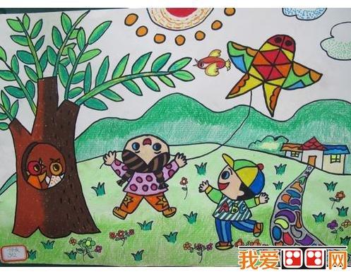 优秀儿童画春天景色的作品欣赏 2