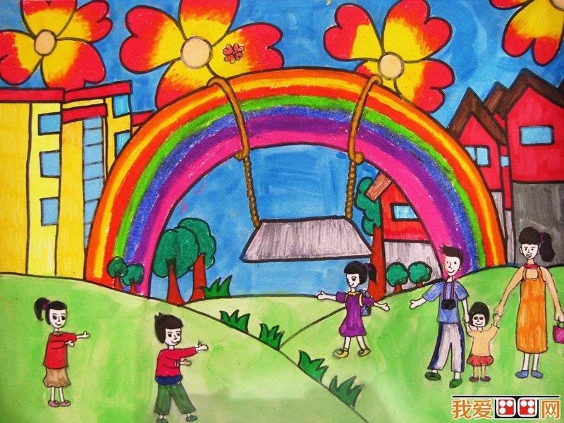 美丽的彩虹儿童画作品欣赏