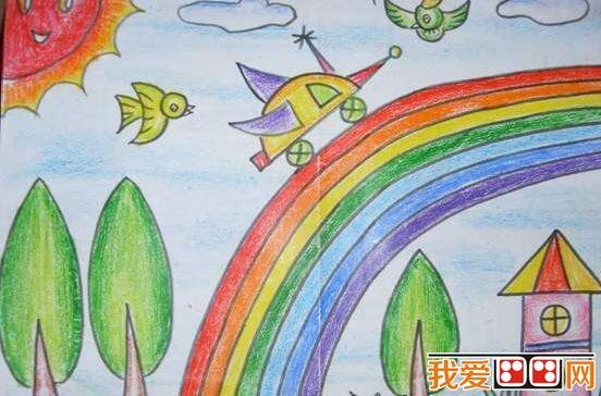中我们总是看见各种各样的彩虹,大家也一起来画一幅彩虹儿童画吧。下面来看看美丽的彩虹儿童画作品欣赏。  美丽的彩虹儿童画作品欣赏 彩虹,无数细小的水滴聚在一起,簇拥在阳光的辉映下,便成了诗句中的彩练,传说中的金桥。虹,她用色彩绚丽的光,为人们描绘出一个奇妙的世界。虹就是用她的霞光,照亮了人们心灵的窗子。  美丽的彩虹儿童画作品欣赏 一条彩虹出现在碧蓝碧蓝的天空,赤、橙、黄、绿、青、蓝、紫,各种颜色交织在一起相映生辉,像一座金桥,气势雄伟地横卧天空。