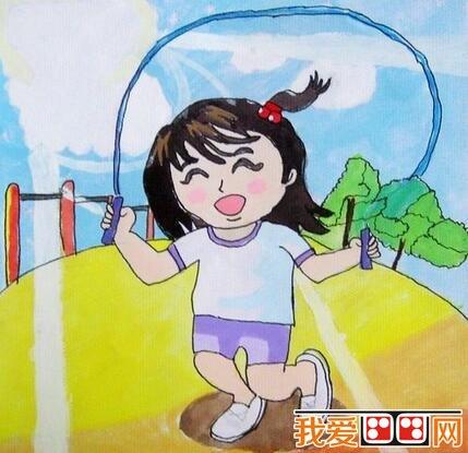 儿童水粉画运动会作品欣赏 4