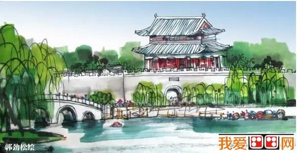 南京古城的手绘装饰画