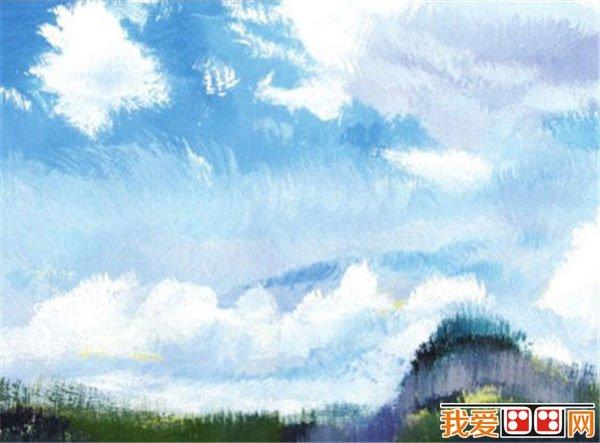 04 找出远处草堆的颜色,注意观察其整体轮廓;找出草丛的暗部,注意从左到右的冷暖变化。  水粉画天空的画法步骤四 05 丰富草丛暗部的色彩变化,把握好冷暖关系,勾勒出近处植物的动势,用笔要灵活生动。  水粉画天空的画法步骤五 06 丰富画面的色彩变化,使画面的色彩更加丰富;调整画面的明暗关系,拉大前后的空间。再调整画面的色彩关系,统一色调,完成作品。  水粉画天空的画法步骤六  水粉画天空完成稿