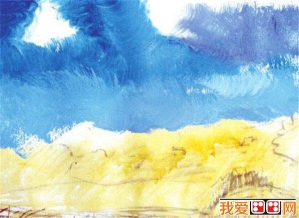 01 用铅笔起稿,把握好大的透视关系,用线要灵活。  水粉画天空的画法步骤一 02 大面积地铺出天空的颜色,把握好天空的色调。注意远近天空的色调对比。  水粉画天空的画法步骤二 03 仔细观察天空远近的明暗变化,丰富天空的色彩变化,拉大远近的纯度对比。  水粉画天空的画法步骤三