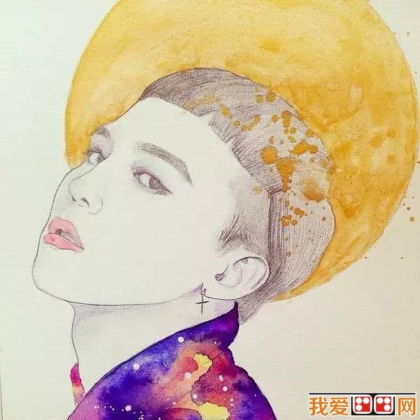 安东奈娜手绘水彩美女插画图片