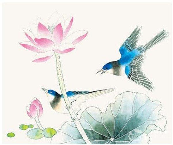 绘画步骤    第一步:用较深的墨勾鸟的嘴,眼,脚,硬羽,尾羽,中墨勾荷叶