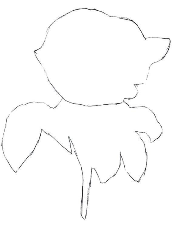 水粉画玫瑰绘画步骤一 1、绘制外部形态  水粉画玫瑰绘画步骤二 2、继续绘制线稿  水粉画玫瑰绘画步骤三 3、绘制花瓣和叶脉 水粉画玫瑰绘画步骤四 4、填充花瓣颜色 水粉画玫瑰绘画步骤五 5、为叶子和叶茎上色 水粉画玫瑰绘画步骤六 6、深入绘制叶子