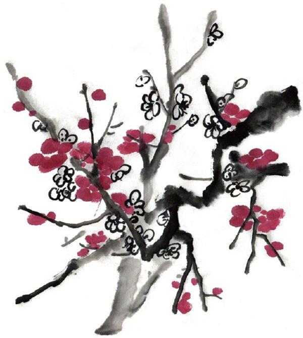 水墨画梅花绘画步骤教程 www.woaihuahua.com 宽600x669高
