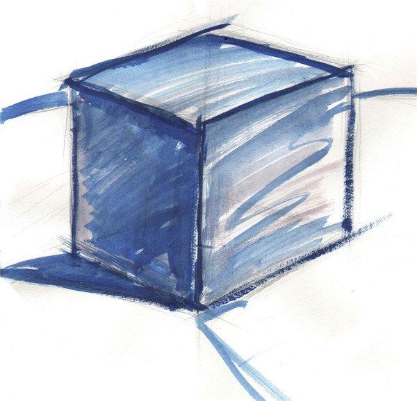 长线条,画出立方体的外形轮廓及投影位置。  单色立方体绘画步骤一 步骤二:用水调和普蓝,沿着铅笔线勾勒出立方体的轮廓,并用大笔摆出暗部与投影的色块,表现出大体的明暗关系。  单色立方体绘画步骤二 步骤三:铺出立方体和背景的整体颜色,布纹略带过,上色尽量跟着结构走。  单色立方体绘画步骤三
