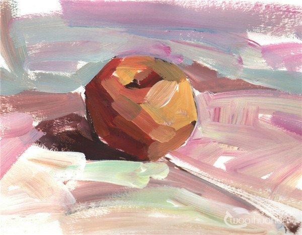水粉静物画 > 水粉画苹果的绘画技法(4)                      步骤四