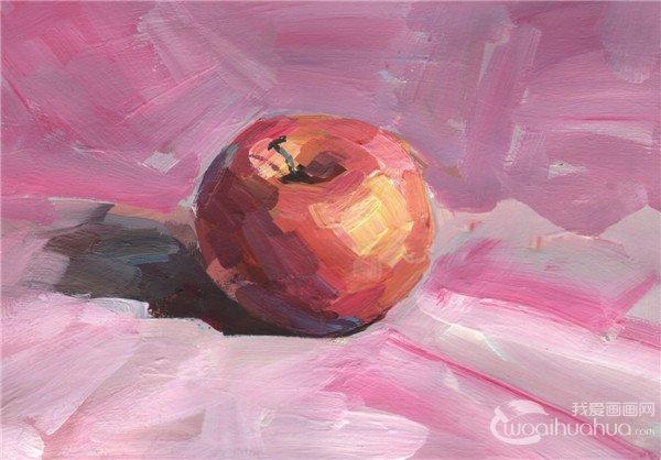 单色水粉苹果绘画步骤六
