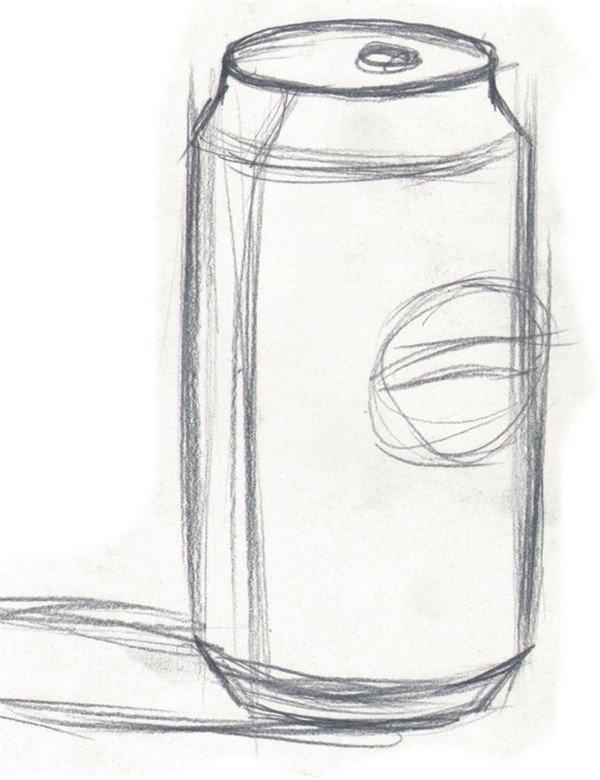 水粉画可乐瓶的绘画教程 2